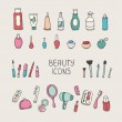 Set of vintage cosmetics elements and beauty products icons. Makeup. Beautiful vector illustration. — Stock Vector #51323373