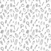 Cosmétiques et icônes de produits de beauté. vintage patterns sans couture avec éléments cosmétiques. maquillage. illustration vectorielle. beau fond. — Vecteur