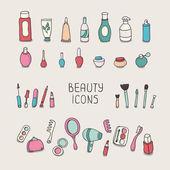 Zestaw elementów rocznika kosmetyki i uroda produktów ikony. makijaż. piękne wektorowej. — Wektor stockowy