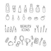 Set of vintage cosmetics elements and beauty products icons. Makeup. Beautiful vector illustration. — Stock Vector