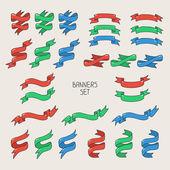 Vintage ribbon banners, hand drawn set  for design. Vector illustration. — Stock Vector