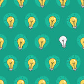 Hand drawn seamless pattern of light bulbs. Idea symbol. Vector illustration. Lamp background in sketch style. — Stok Vektör