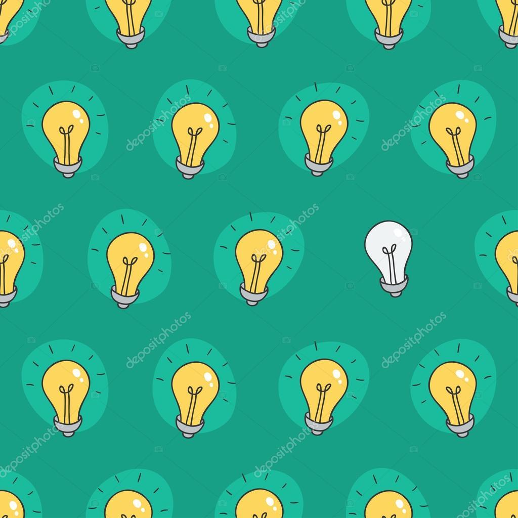 Hand drawn seamless pattern of light bulbs. Idea symbol. Vector ...