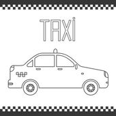 Vector graphic yellow linear taxi car. — Stockvector