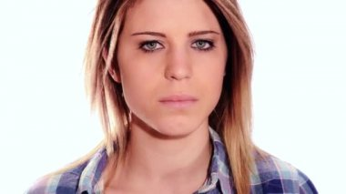 Beautiful angry girl — Stock Video