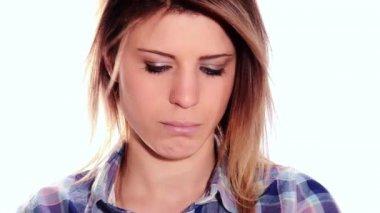 Nice girl pouting — Stock Video