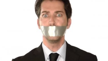 Businessman gagged with a tape — Stock Video