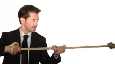 Businessman in tug of war concept — Stock Video