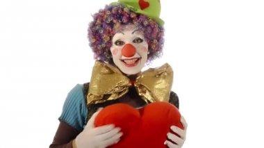 The clown has a big heart — Stock Video