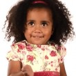 Funny mixed race black and latino brazilian little girl isolated — Stock Video