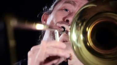 Trombone player, close up — Video Stock