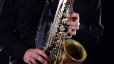 Sax player close up — Stock Video