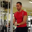 Stock Video: Triceps workout