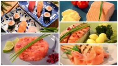 Salmon recipes collage — Vídeo de stock