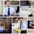 Unmarried businessman at home, collage  — 图库视频影像