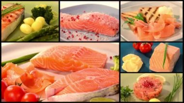 Salmon recipes collage — Stock Video