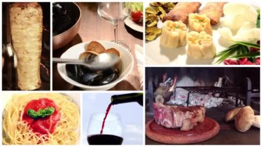 International cuisine collage — Stock Video