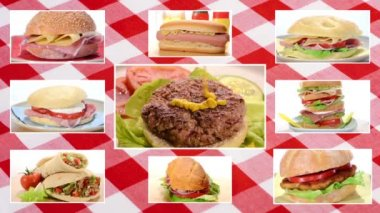 Sandwiches collage on tablecloth background — Stock Video