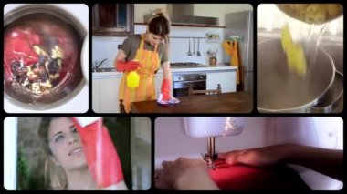 Young housewife, collage — Stock Video