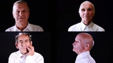 Senior men collage — Stock Video