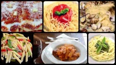 Italian pasta dishes, collage — Stock Video