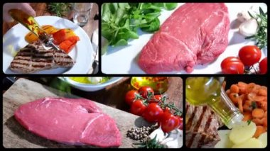 Beefsteak collage — Stock video
