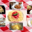 Stock Video: Italian pasta, composition with tablecloth