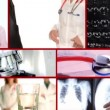 Stock Video: Medical doctors collage on red