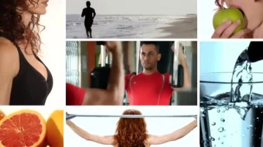 Fitness and healthy food, collage — Stock Video
