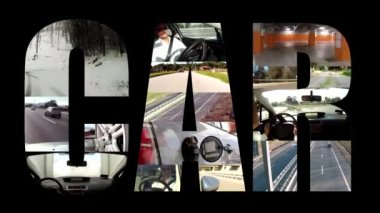 Car collage on black — Video Stock