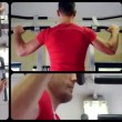Back muscles workout, collage — Stock Video