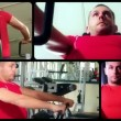 Chest machine exercises, collage — Stock Video