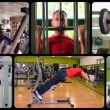 Stock Video: Fit man doing workout at the gym, montage