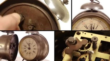 Vintage alarm clocks and cog — Stock Video