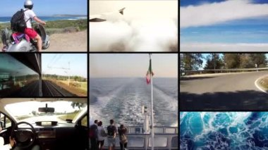 Traveling, collage — Stok video