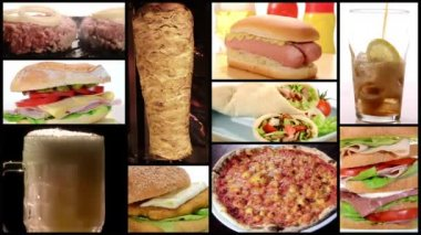 Fast food collage — Stock Video