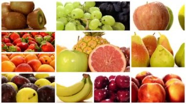 Diverse fruits montage — Stock Video