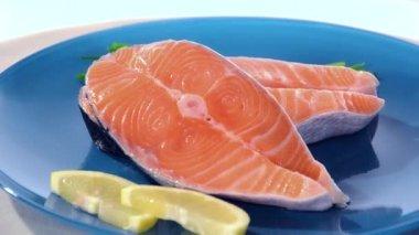 Filés de salmão — Vídeo Stock