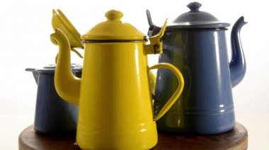 Vintage jugs and coffeepots — Stock Video