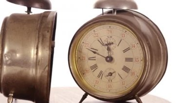 Vintage alarm clocks — Stock Video