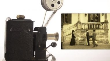 Vintage movie projector — Vídeo Stock