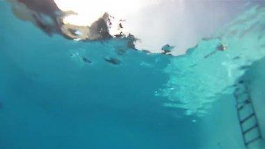 Chłopiec, skoki do basenu — Wideo stockowe