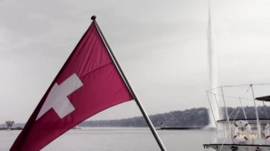 Geneva, Switzerland Flag and Jet d'Eau — Stock Video