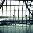 Silhouettes of travellers in airport — Stock Video #44245781