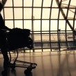 Silhouettes of travellers in airport — Stock Video