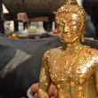 Buddha statue with gold leaves — Stock Video