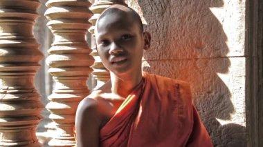 Khmer monk portrait — Stock Video