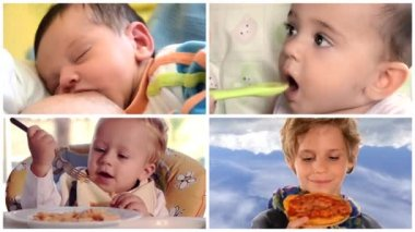 From baby food to solids, collage — Stock Video