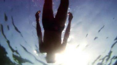Snorkeling. Underwater shooting — Stock Video