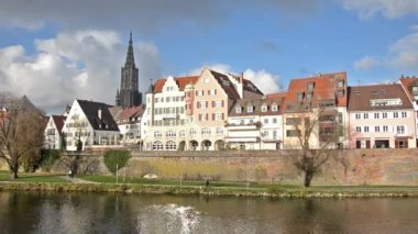 Ulm and Danube river — Stock Video